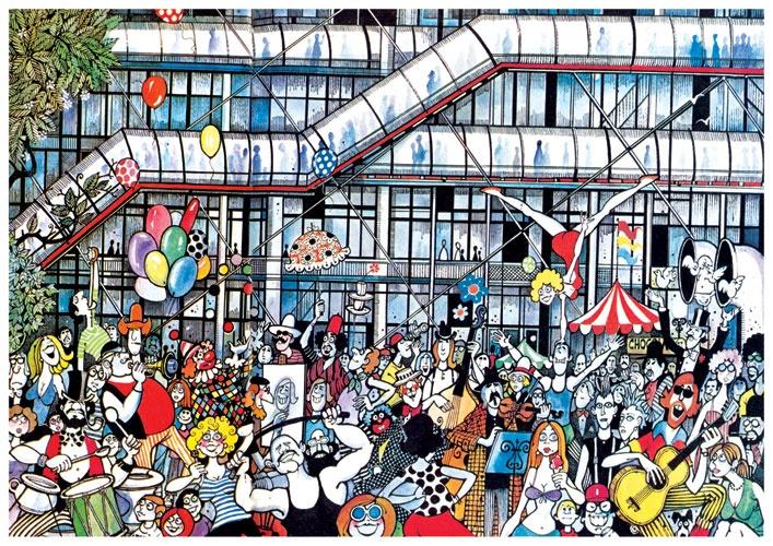 ICONS | India | GRAPHIC | Caricature  | MARIO MIRANDA |Mario de Miranda ~ The Georges Pompidou Centre