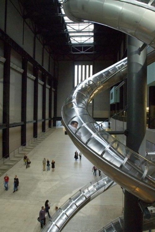 Slide for adults. Installation in the Tate Gallery, London by Carsten Holler