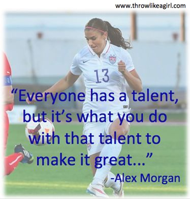 LOVE Alex Morgan!  www.throwlikeagirl.com