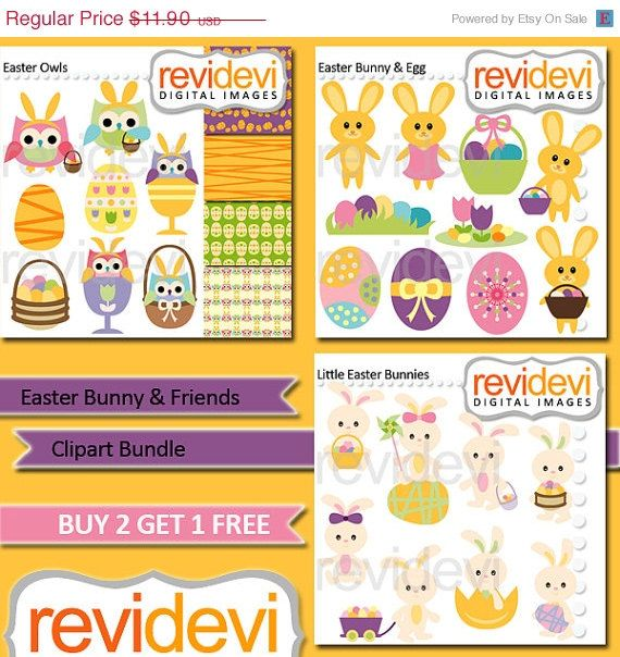 60% OFF SALE Instant Download Clipart Bundle.. Easter by revidevi
