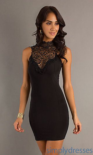 Short High Neck Lace Dress at SimplyDresses.com