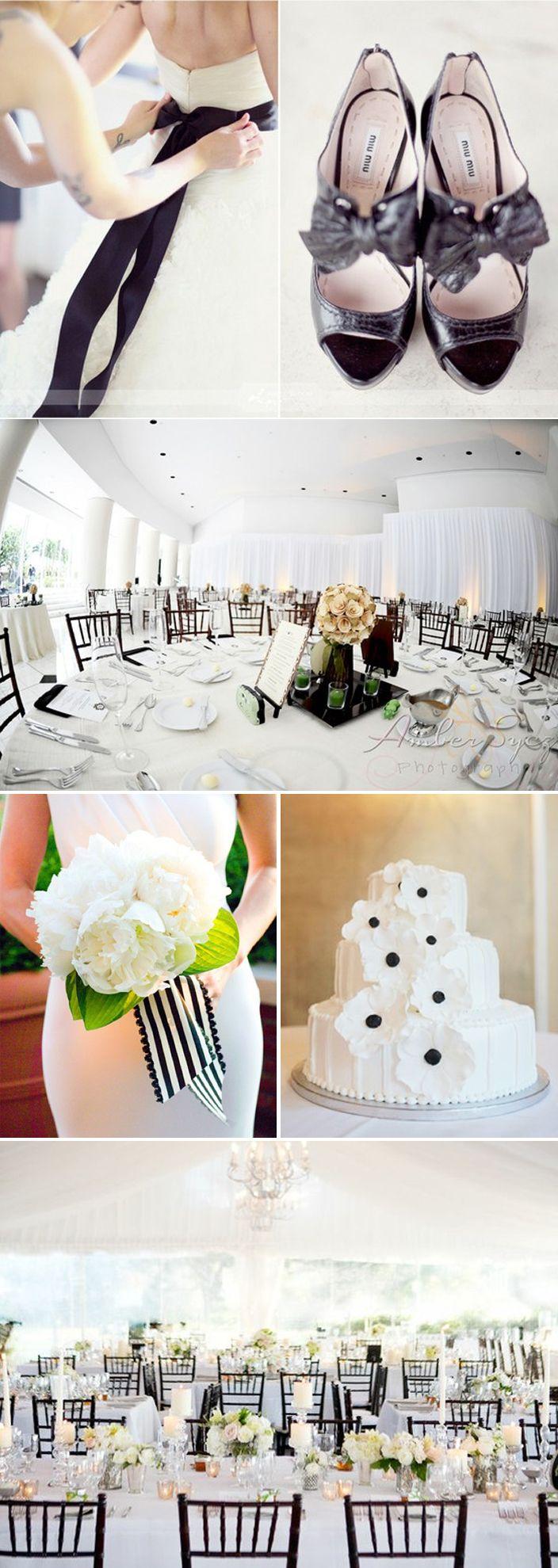 Black and white wedding... Def not the ribbon around the waist