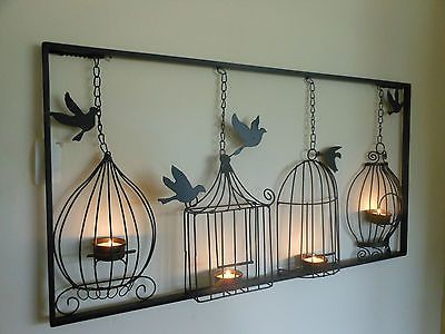 Birdcage Tea Light Wall Art Metal Wall Hanging Candle Holder Black Bird Cage