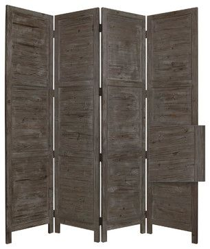 """Nantucket Screen, Grey rustic-screens-and-room-dividers   Nantucket 4 Panel Floor Screen has a frame and panels of solid cedar wood that is stained in a washed soft green. This handmade Floor Screen is finished on both sides. $319 depth 76"""" height 84"""" screen gems furniture accessories"""