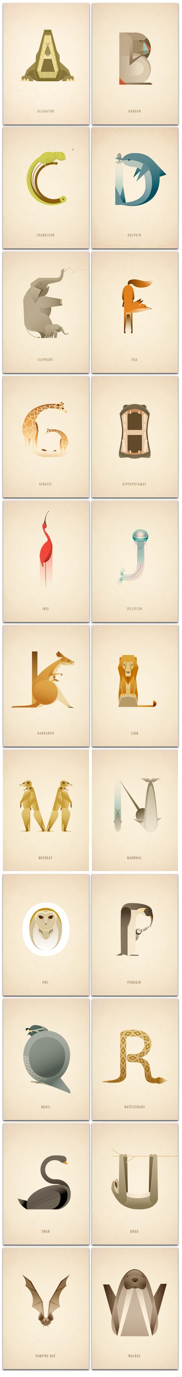 This animal alphabet by Marcus Reed is very bright and colourful. Great for children as each word is made up of one or a group of animals that start with the same letter. Very educational and helpful for anyone struggling to find an animal that starts with a certain letter, it not too complex to understand, simple and clear designs.
