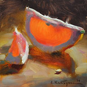 Grapefruit Under the Light by Elena Katsyura Oil ~ 6 x 6