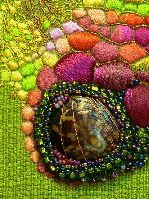 photo by Half Mom-Squared (in and out) on flickr, mixed media, beading, embroidery, shells, chartreuse, pink, violet, orange