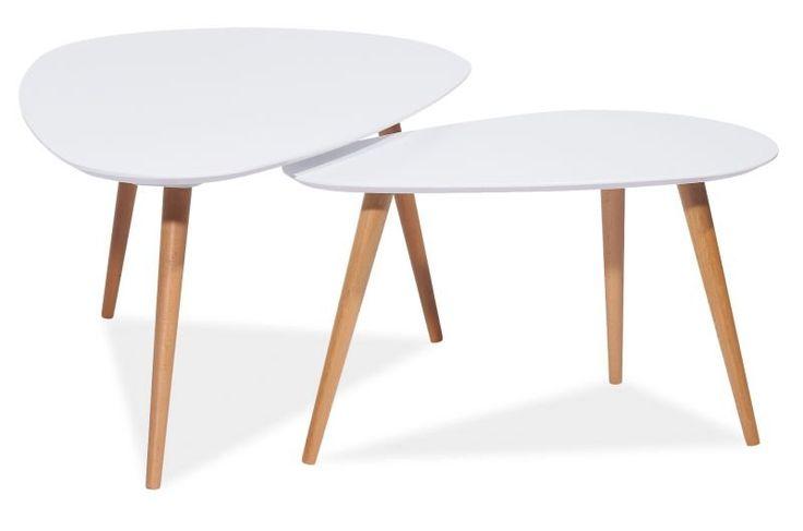 Köp - 1395 kr! Satsbord Linköping - Vit/bok. Stilrent satsbord bestående av ett större och ett mindre soffbord
