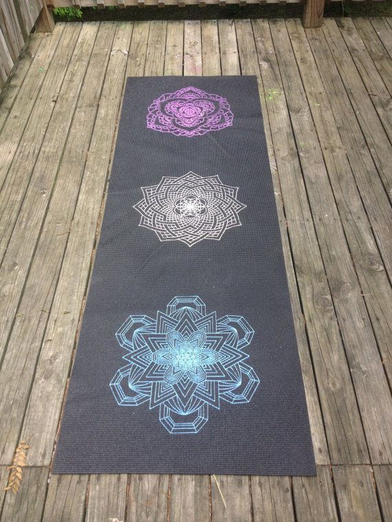 Hand printed with hand drawn mandalas with hIghly UV reactive inks. Excellent for black light yoga, camping, festivals. Purple Lotus, White Flower