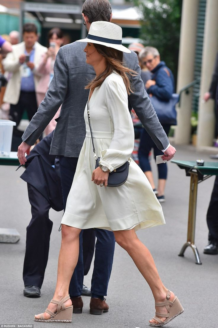 Pippa Middleton, 33, breezes into Wimbledon in a white dress, for her third visit to the C...