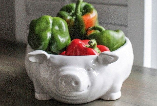 Large White Pig Bowl - From Antiquefarmhouse.com - http://www.antiquefarmhouse.com/current-sale-events/kitchen9/large-white-pig-bowl.html