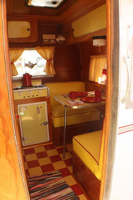 vintage camper...yellow and red interior