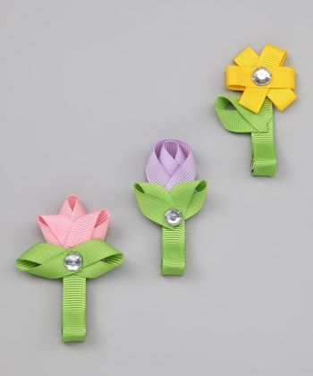 Spring Flower Hair Clips, set of three