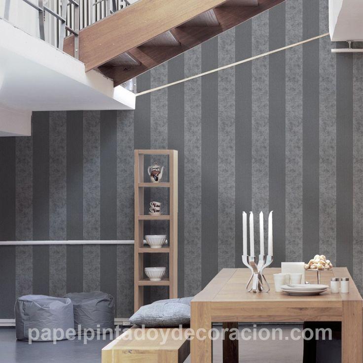 Papel pintado raya ancha 13cm tonos grises con brillo purpurina textura rugosa PDA8953734