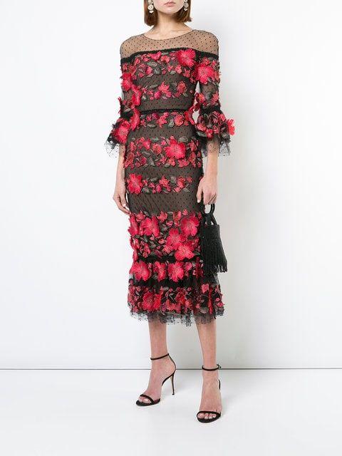 c3f1c21b Marchesa Notte floral-appliquéd Lace Dress in 2019   Editor Wish ...