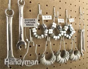 Use old-fashioned shower curtain rings to organize and conveniently display nuts, washers and small tools on your pegboard.