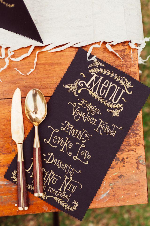 Gold and black wedding menu | Kama Catch Me - Fiji Wedding Photographers | see more on: http://burnettsboards.com/2014/12/marriage-fijian-wedding-editorial/