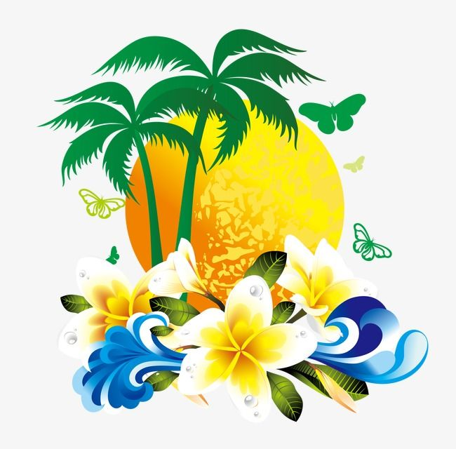 Gorgeous Tropical Flowers Coconut Tree Material Tropical Clipart Coconut Vector Tree Vector Png And Vector With Transparent Background For Free Download Flower Art Painting Vector Trees Flower Drawing