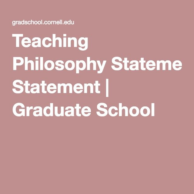 Teaching Philosophy Statement | Graduate School