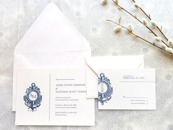nautical wedding invitations with anchor insignia   Add it to your favorites to revisit it later.
