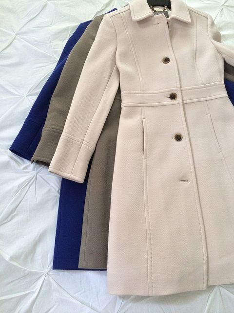 "J crew lady day coat Left (majestic purple) + middle are from 2011 (cobblestone), right is 2013 (antique linen); Length of coats 2011 33"", 2013 35.5"""