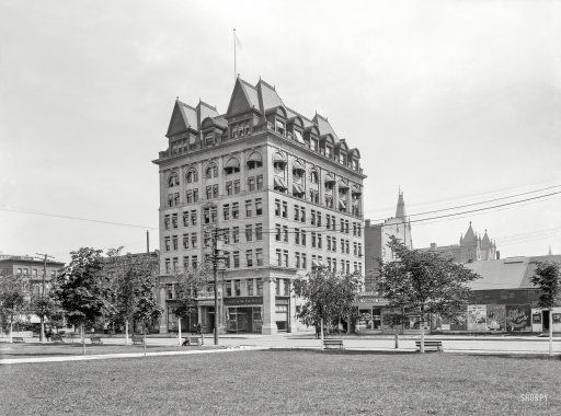 "Scranton, Pennsylvania, circa 1901. ""Board of Trade and Linden Street."" Completed in 1896, this precursor to the city's Chamber of Commerce, known as the Electric Building for almost a century, is a landmark for the giant SCRANTON THE ELECTRIC CITY sign on its roof since the 1920s. Prints from $15."