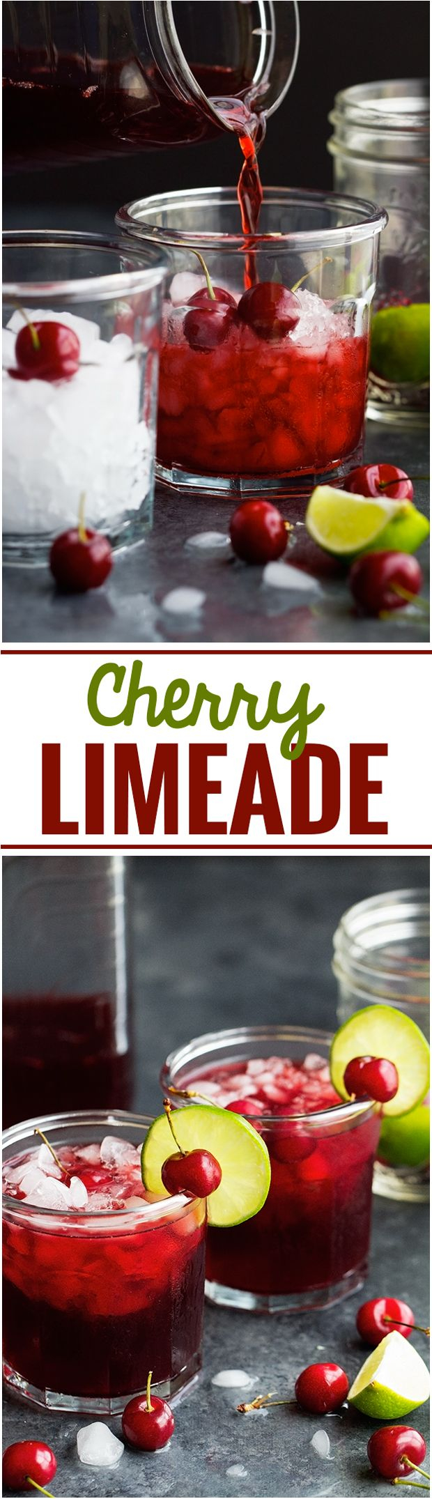 Cherry Limeade - Simple, bright, and refreshing. Perfect for summer days and takes just 5 minute to make! #cherrylimeade #limeade #lemonade | Littlespicejar.com