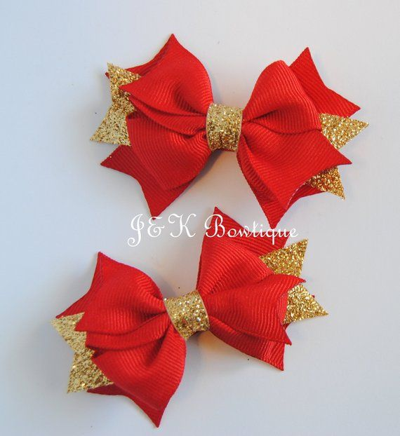 Red And Gold Boutique Bow Red Bow Small Hair Bow Christmas Bows Red Hair Clip Toddler Bows Red And Gol Christmas Hair Bows Small Hair Bows Blue Hair Bows