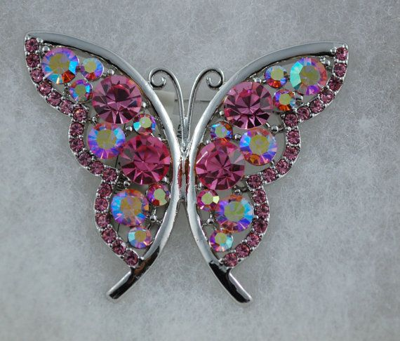 Pink Butterfly Austrian Crystal Brooch on Etsy, $34.95