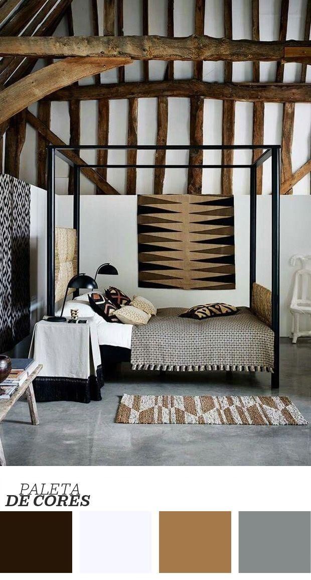 Um quarto que mistura perfeitamente a rusticidade e o industrial - essa é uma das melhores definições para o espaço acima. O chão de cimento batido, as luminárias e o dossel da cama, ambos de metal, têm ares sóbrios. Na cabeceira, na manta e no tapete, tecidos tramados levam graça para o ambiente. As tapeçarias bem selecionadas são o toque especial para quem não quer usar obras de arte e, mesmo assim, gostaria de ter itens valiosos dentro de casa. A grande beleza do dormitório, no entanto…