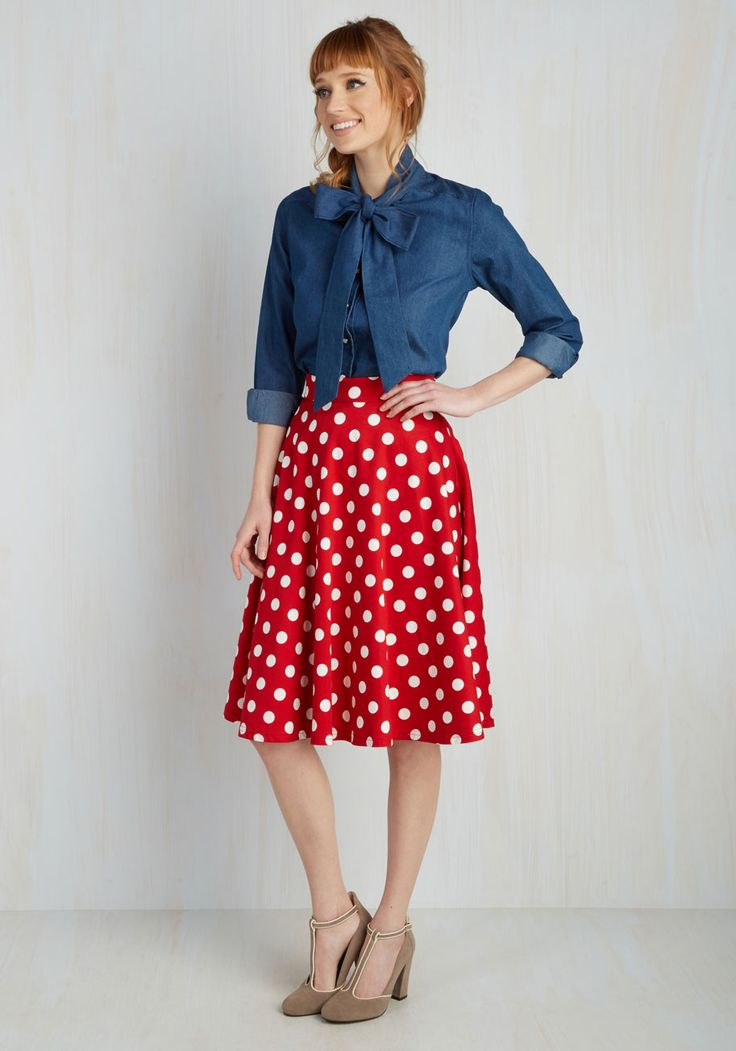 Bugle Boogie Skirt in Red Dots. You hear your friends truck horn outside your window - your trumpet call to dance this A-line skirt out the door and hop in! #red #modcloth