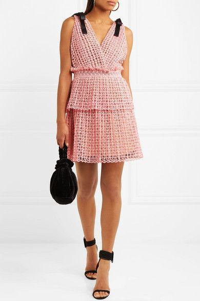 93eb122ca8606 Self-Portrait | Bow-detailed guipure lace mini dress | NET-A-PORTER.COM