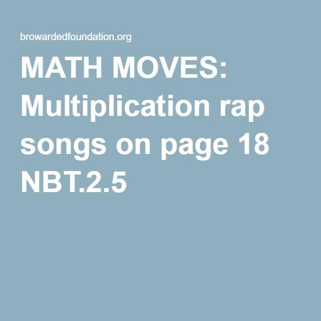 math worksheet : math moves multiplication rap songs on page 18 nbt 2 5  topics 3  : Multiplication Rap Songs