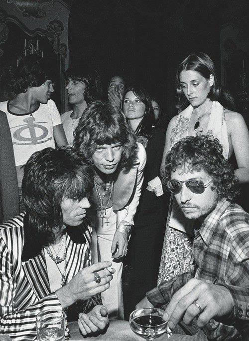 Keith Richards , Mick Jagger , Bob Dylan ,  July 1973 photo: Ken Regan