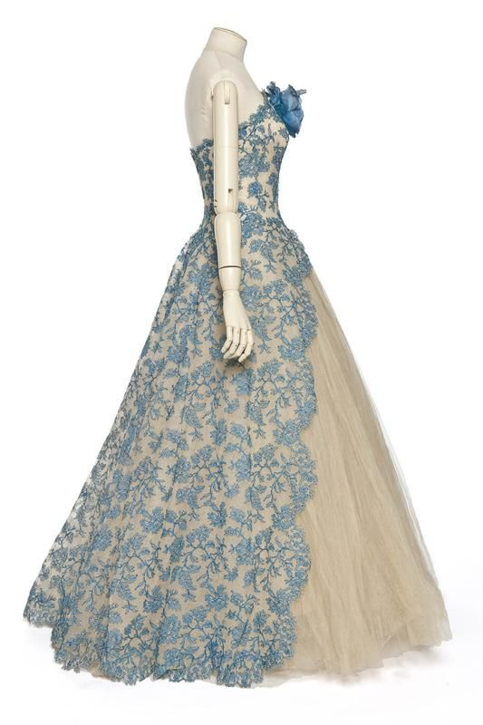 ~Pierre Balmain, Gown of Blue Lace over Tulle, 1950s~