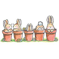 Penny Black 'Bunny Friends' Rubber Stamp | Overstock.com Shopping - The Best Deals on Wood Stamps
