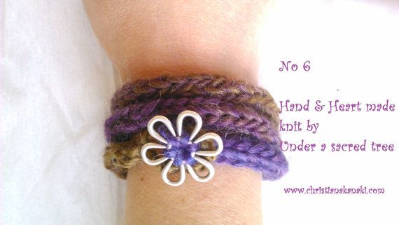 Hand & Heart knitted bracelet with metal button ~ Charged with Reiki ~ No 6 Olives/Jeans/Purple ~ Statement bracelet