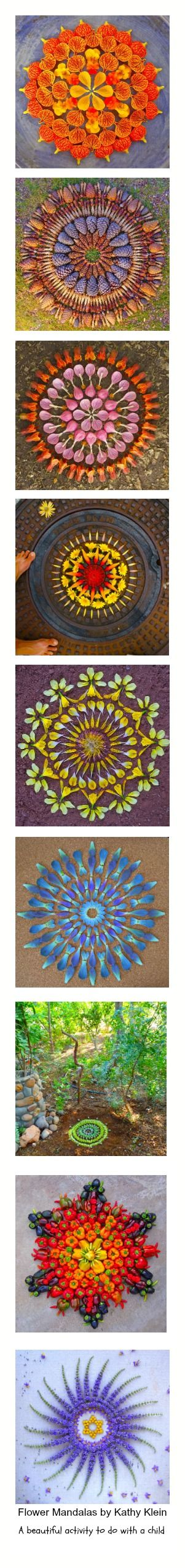 Flower Mandalas by Kathy Klein  Inspiration to create beautiful designs with natures beauty.