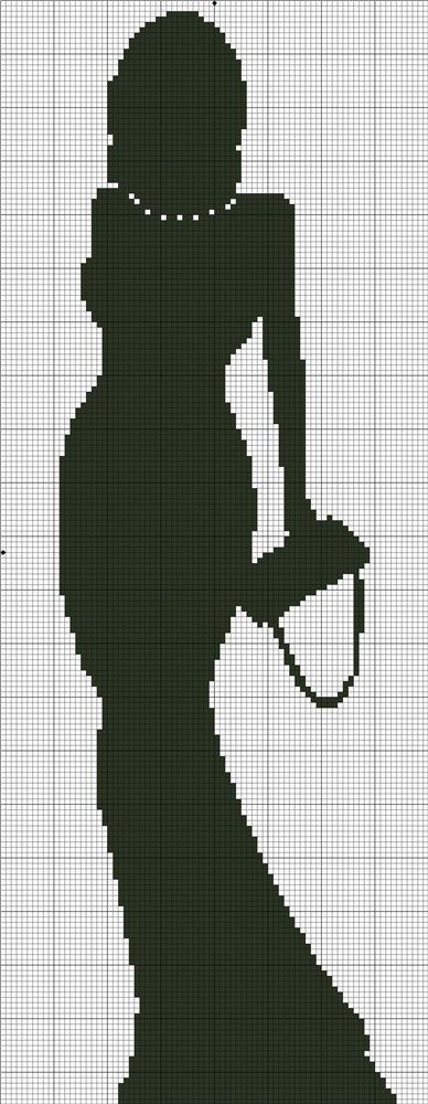 0 point de croix monochrome silhouette femme esac à main - cross stitch lady's silhouette and handbag