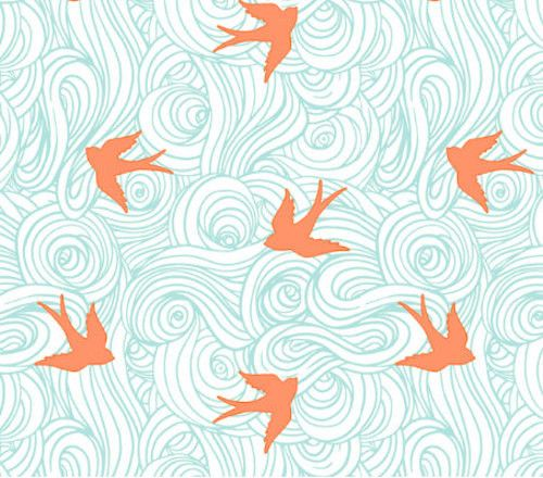 birds in flight crib sheet mint and coral madly wish