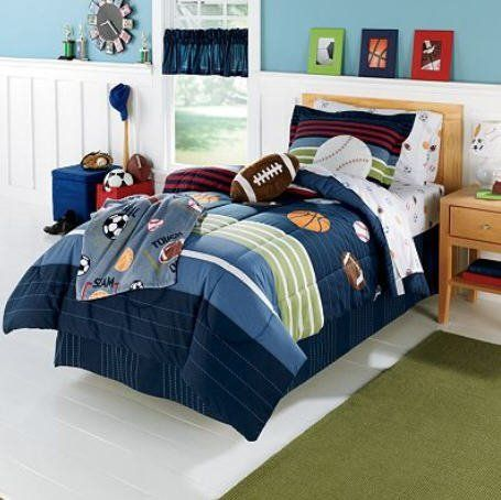 MVP Sports Boys Baseball, Basketball, Football Twin Comforter Set (5 Piece Bed In A Bag) by Kids Bedding. $139.49. The set includes: 1- TWIN Size Comforter, 1- Flat Sheet, 1-  Fitted Sheet, 1- Pillowcase & 1- Pillow Sham.. Athletic-themed items are the center of attention in his bedroom.  He will look like an all-star with this athletic bedding.  The set includes: 1- TWIN Size Comforter, 1- Flat Sheet, 1-  Fitted Sheet, 1- Pillowcase & 1- Pillow Sham.  All other items show...