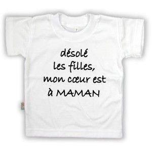 T-shirt enfant humour : mon cœur est à MAMAN
