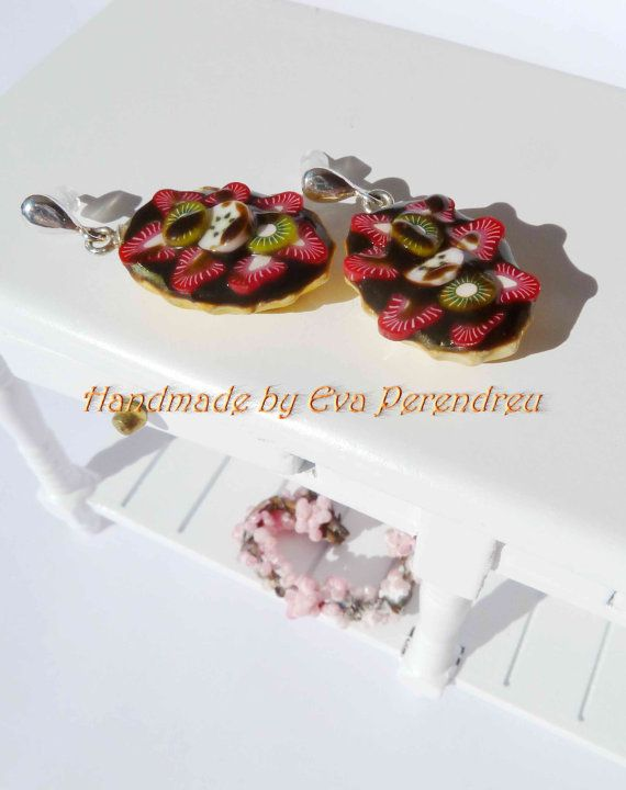 Earrings miniature chocolate and strawberry pie silver by Evamini, $15.50