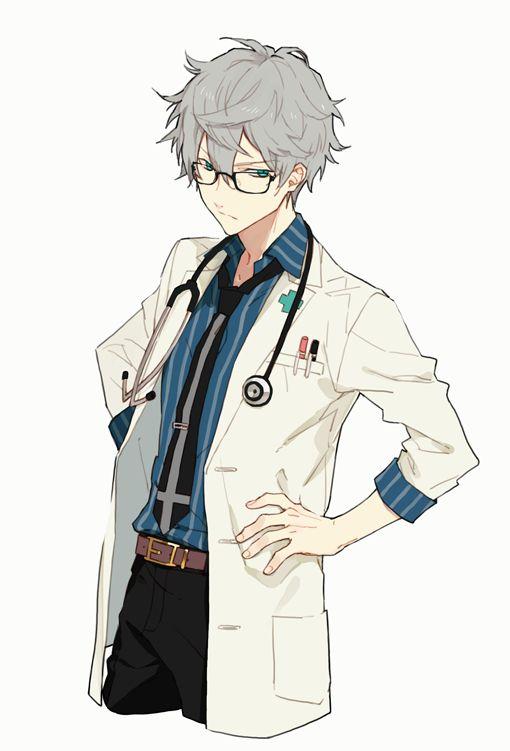 연구소 백의 정장 안경 lab coat,dress shirt, belt, black pants, decorated tie, pens in pocket, glasses