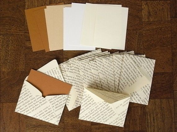 Repurpose book pages to make envelopes