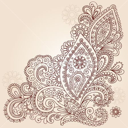 Paisley Flowers Doodle Vector Design — Stock Illustration
