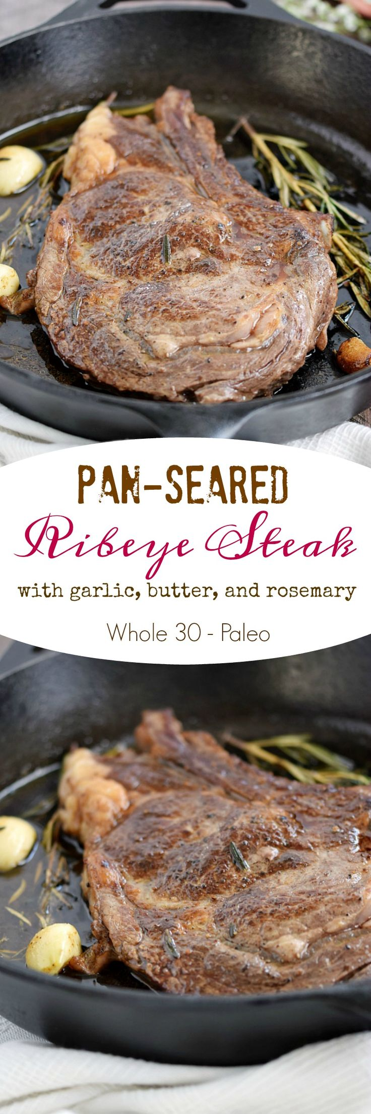 This Pan-Seared Ribeye Steak is basted with butter, garlic, and rosemary for an easy and insanely delicious Dinner for Two | cookingwithcurls.com