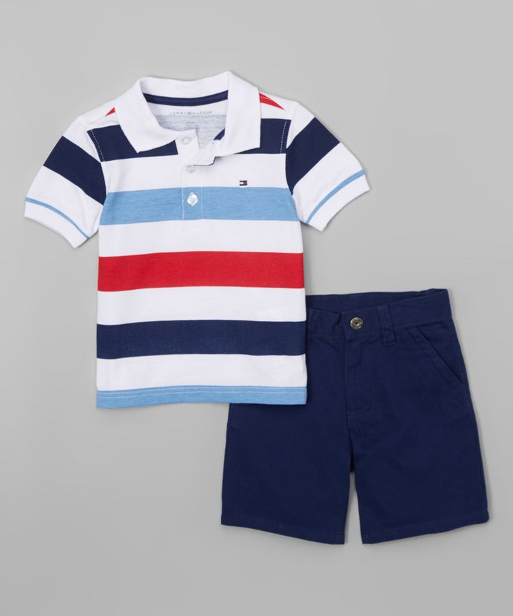 Look at this #zulilyfind! Tommy Hilfiger Light Blue & Red Polo & Shorts - Infant, Toddler & Boys by Tommy Hilfiger #zulilyfinds