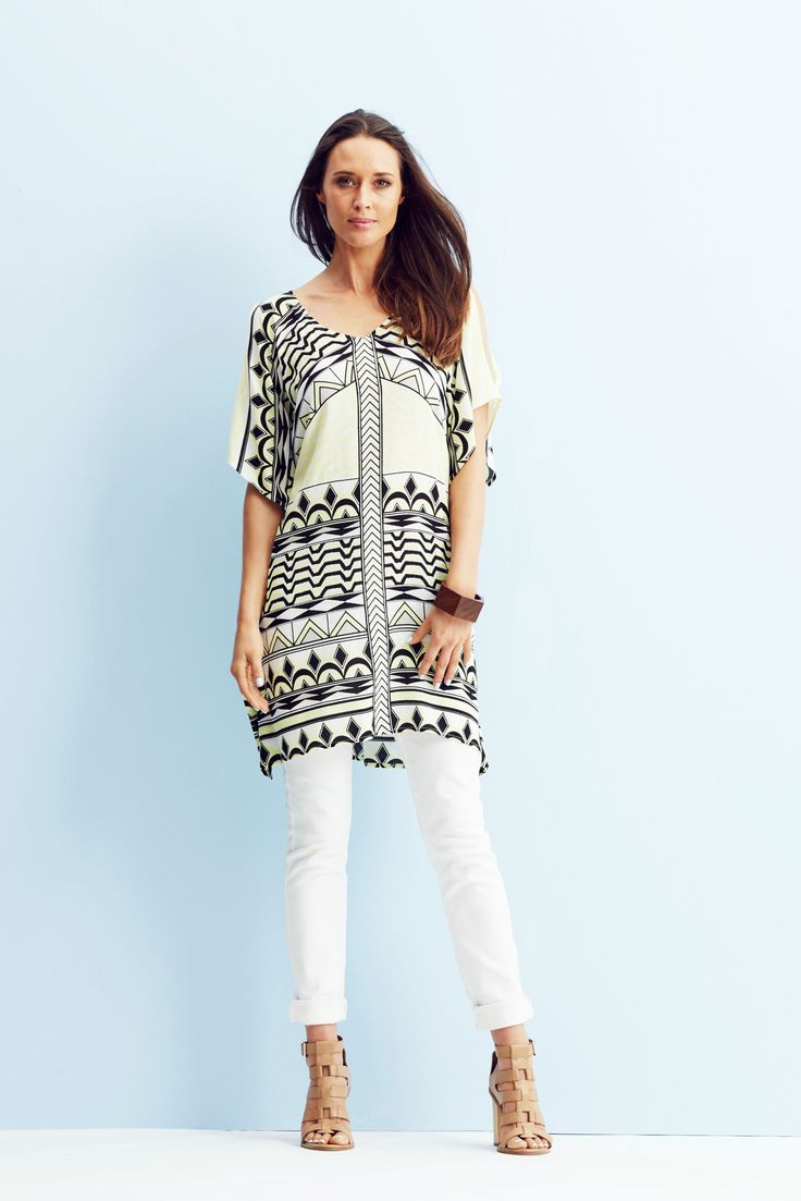 A feminine kaftan silhouette, statement print and summery lemon hue creates the perfect piece for dressing up or down.