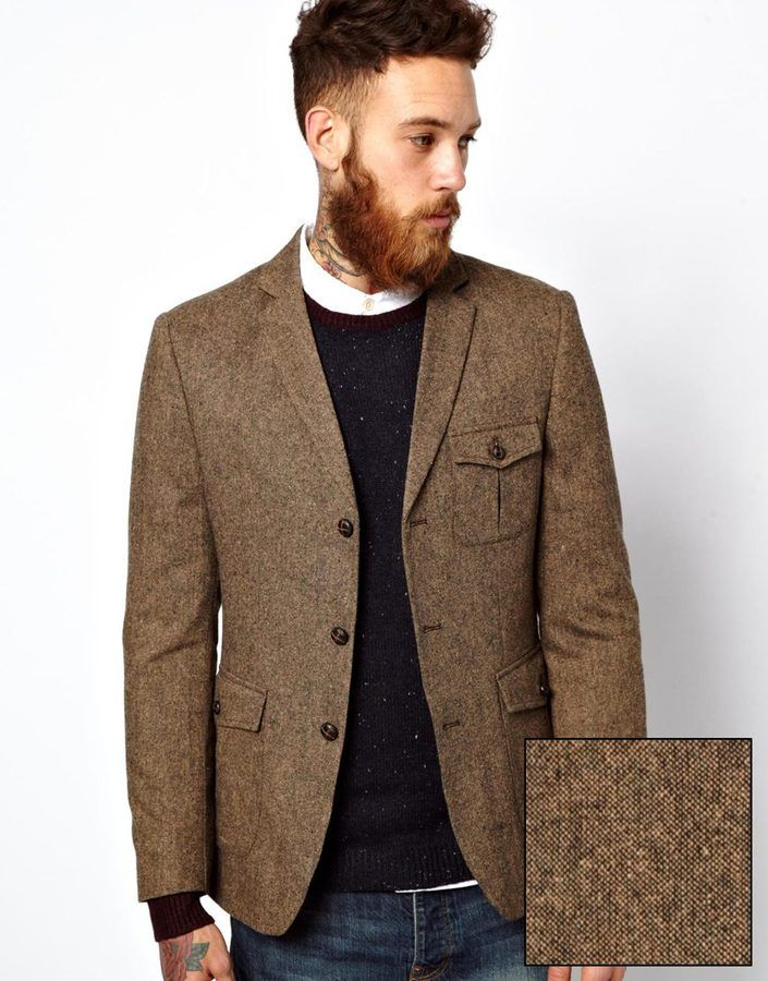 €121, Braunes Sakko von Asos. Online-Shop: Asos. Klicken Sie hier für mehr Informationen: https://lookastic.com/men/shop_items/2510/redirect